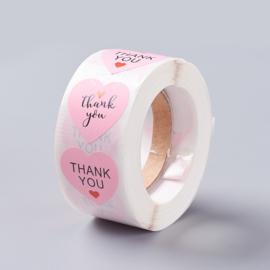 Sticker ''thank you'' hart roze rol