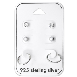 Minimalistic hoop set - 925 silver