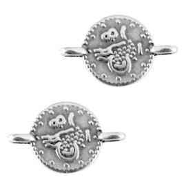 Tussenzetsel muntjes antiek zilver (DQ)