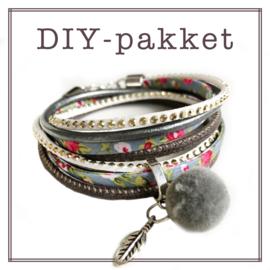 Wikkelarmband DIY-pakket grey