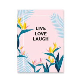 "Sieraden kaartjes ""live love laugh"" Pink-blue"
