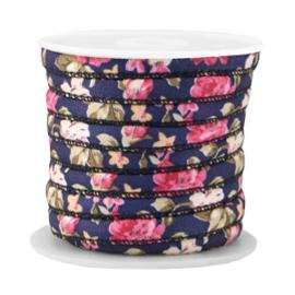 Trendy gestikt koord 6x4mm dark blue-rose