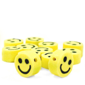 Polymeer kralen mini Smiley Yellow