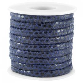 Gestikt imitatie leer reptile dark blue 6x4mm