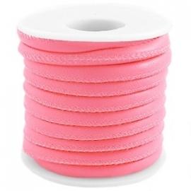 Gestikt imitatie leer bright pink
