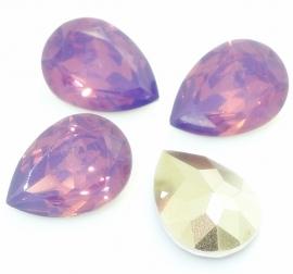Druppel basis facet 10x14mm light purple