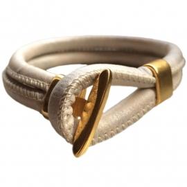 Leather bracelet beige goud