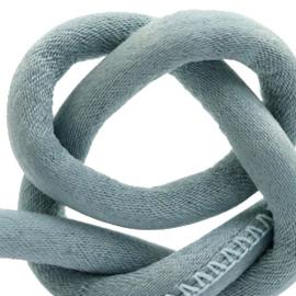 Trendy gestikt koord silk style 4x3mm Blue mist