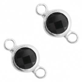 Tussenstukken van crystal glas rond 6mm Black opaque-silver