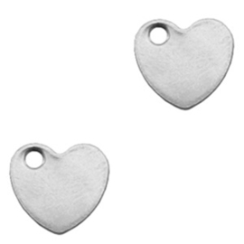 Roestvrij stalen (RVS) Stainless steel bedels hart Zilver