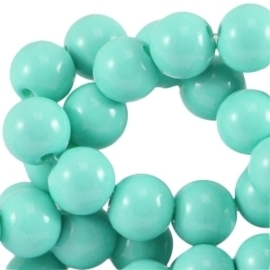 Glass beads opaque turquoise green 6mm