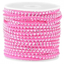 Suède imi strass zilver pink 3mm
