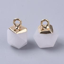 Bedel facet gemstone jade white milk gold