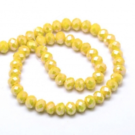 Glas perlen facette opaque crystal yellow 6x4mm