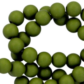 Acrylic beads frosted army green 6mm
