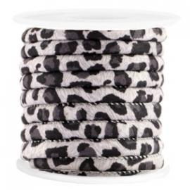 Gestikt koord leopard black 6x4mm