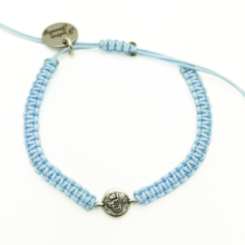 Armbandje ''geluksmuntje'' - lichtblauw & zilver