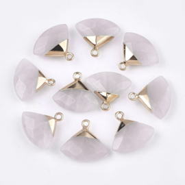 Bedel facet gemstone rose quartz triangle gold