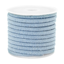 Gestikt koord denim 4x3mm Light blue