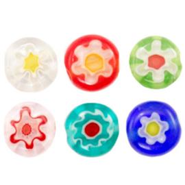 Millefiori kralen disc bloem 6mm Multicolour