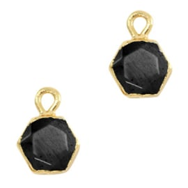 Natuursteen hangers hexagon Black-gold