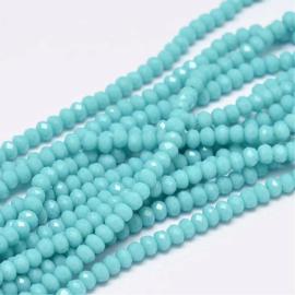 Glaskraal facet 3x2mm Pale turquoise