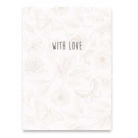 """Sieraden kaartjes """"With love"""" Beige"""
