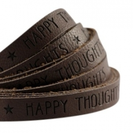 Plat imitatieleer dark chocolate brown 'happy thoughts'
