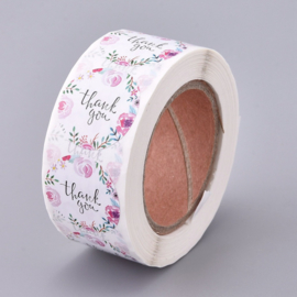Sticker ''thank you'' flowers rol