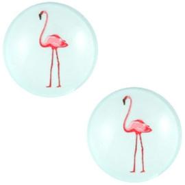 Cabochon flamingo pastel lagoon blue 12mm