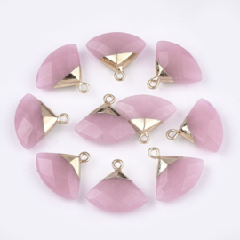 Bedel facet gemstone jade pink triangle gold