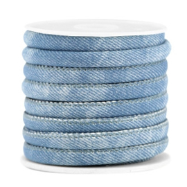 Gestikt imi leer 6x4mm denim Light blue