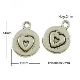 Bedel rond hart zilver (bulk)