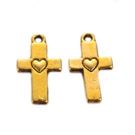 Bedel kruisje hart goud