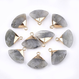 Bedel facet gemstone labradorite triangle gold