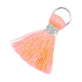 Kwastjes Ibiza style 2cm Zilver-Neon peach