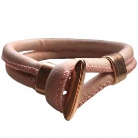 Leather bracelet roze rose