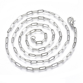 Ketting paperclip zilver