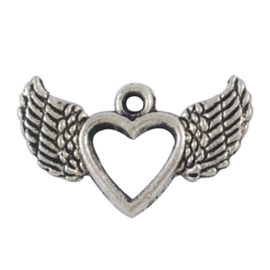 Charme herz wing silber