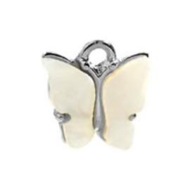 Bedel vlinder beige zilver