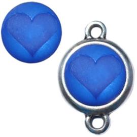 Polaris cabochon hart matt 12 mm Deep ultramarine blauw
