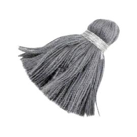 Tassel Ibiza style 3.6cm silber-anthracite grey