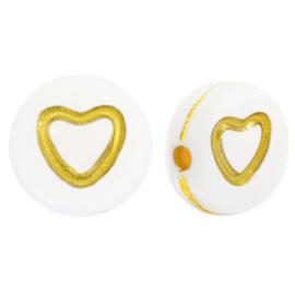 Letterkralen van acryl hartjes open White-gold