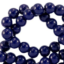 Glaskralen opaque Dark sodalite blue 6mm