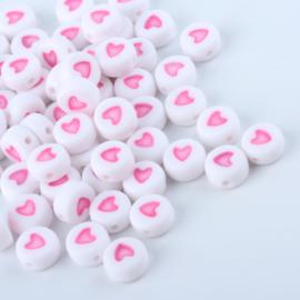 Letterkralen van acryl hartjes White-pink