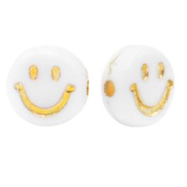 Letterkralen van acryl smiley White-gold