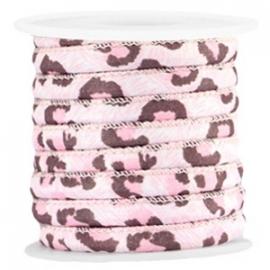 Gestikt koord pink leopard