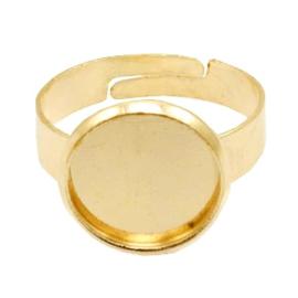 Ring metaal voor cabochon 12mm Goud