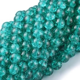 Glaskralen crackle sea green 8mm