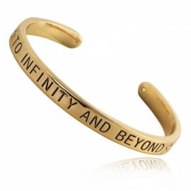 Quote armbänd 'to infinity and beyond' gold